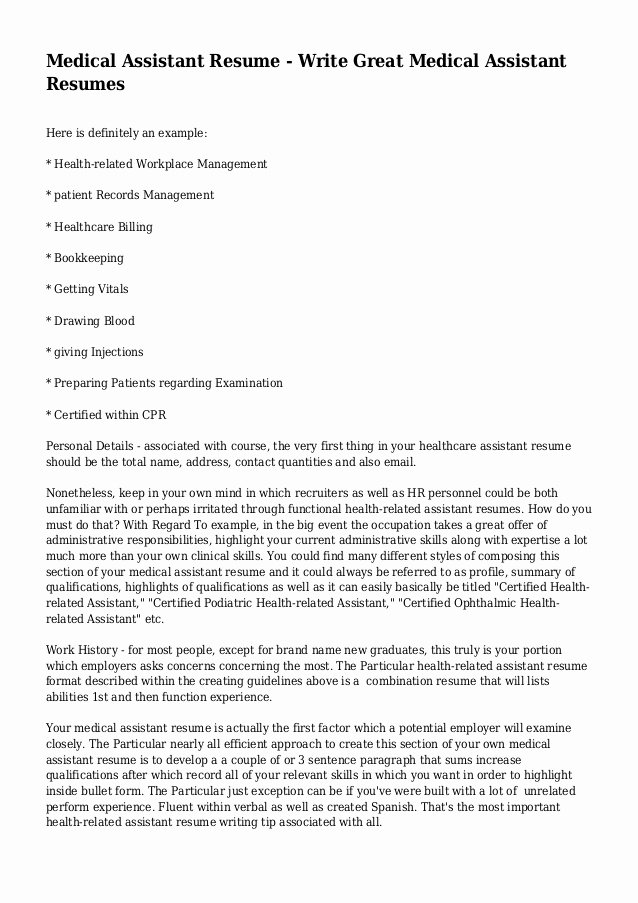 Medical assistant Resume Write Great Medical assistant