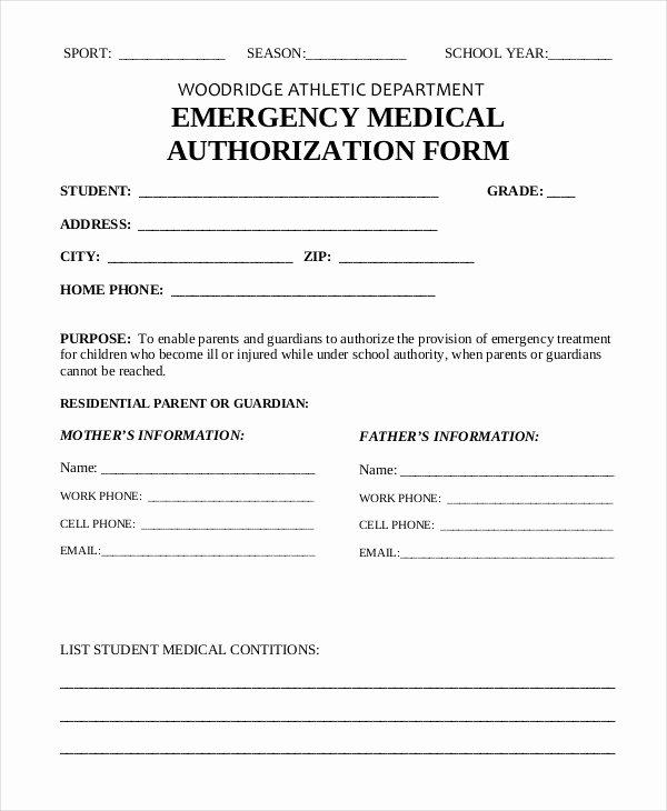 Medical Authorization form