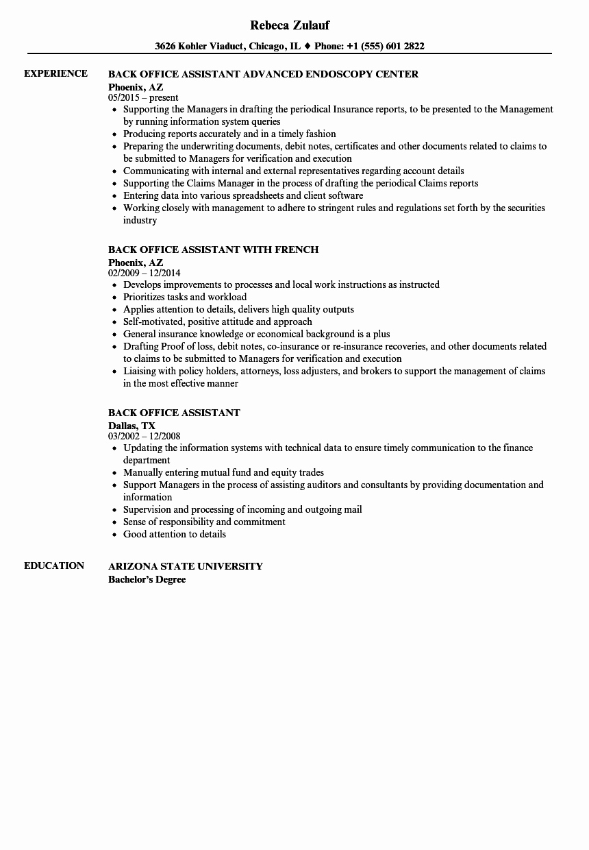 Medical Back Fice Resume Examples