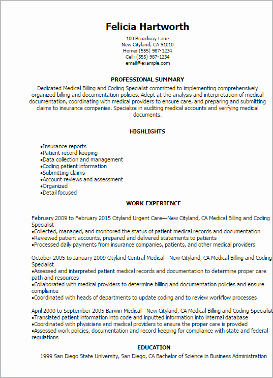 Medical Billing and Coding Specialist Resume Template