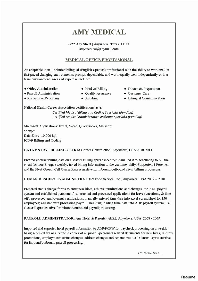 Medical Billing Clerk Resume Exaple