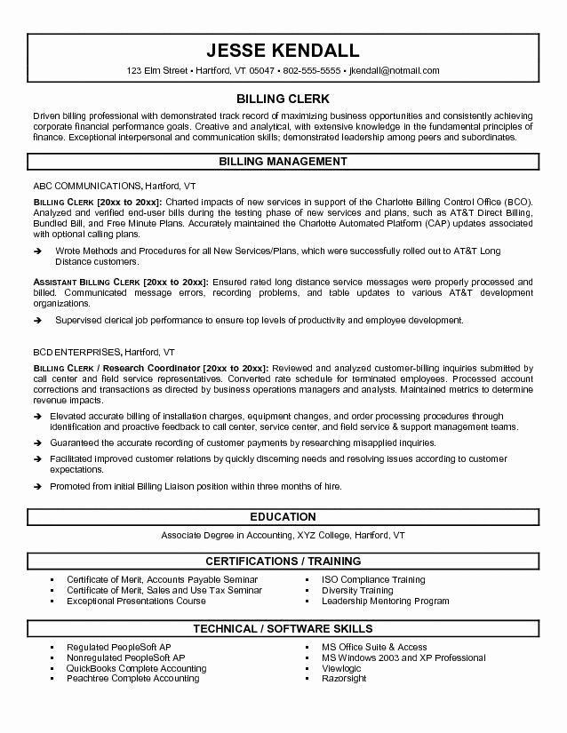 Medical Billing Resume Sample