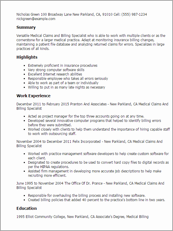 Medical Claims and Billing Specialist Resume Template