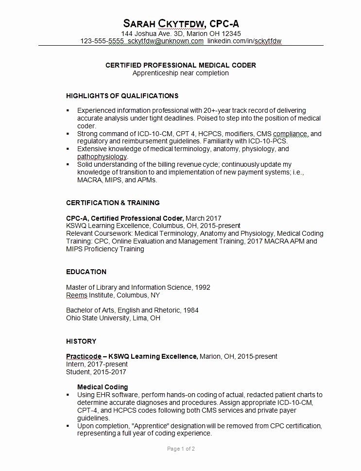 Medical Coding Resume Sample Best Resume Gallery