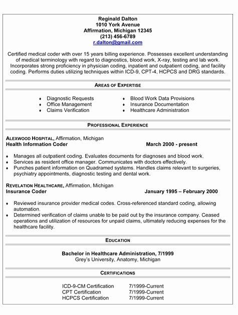 Medical Coding Resume Sample Best Resume Gallery