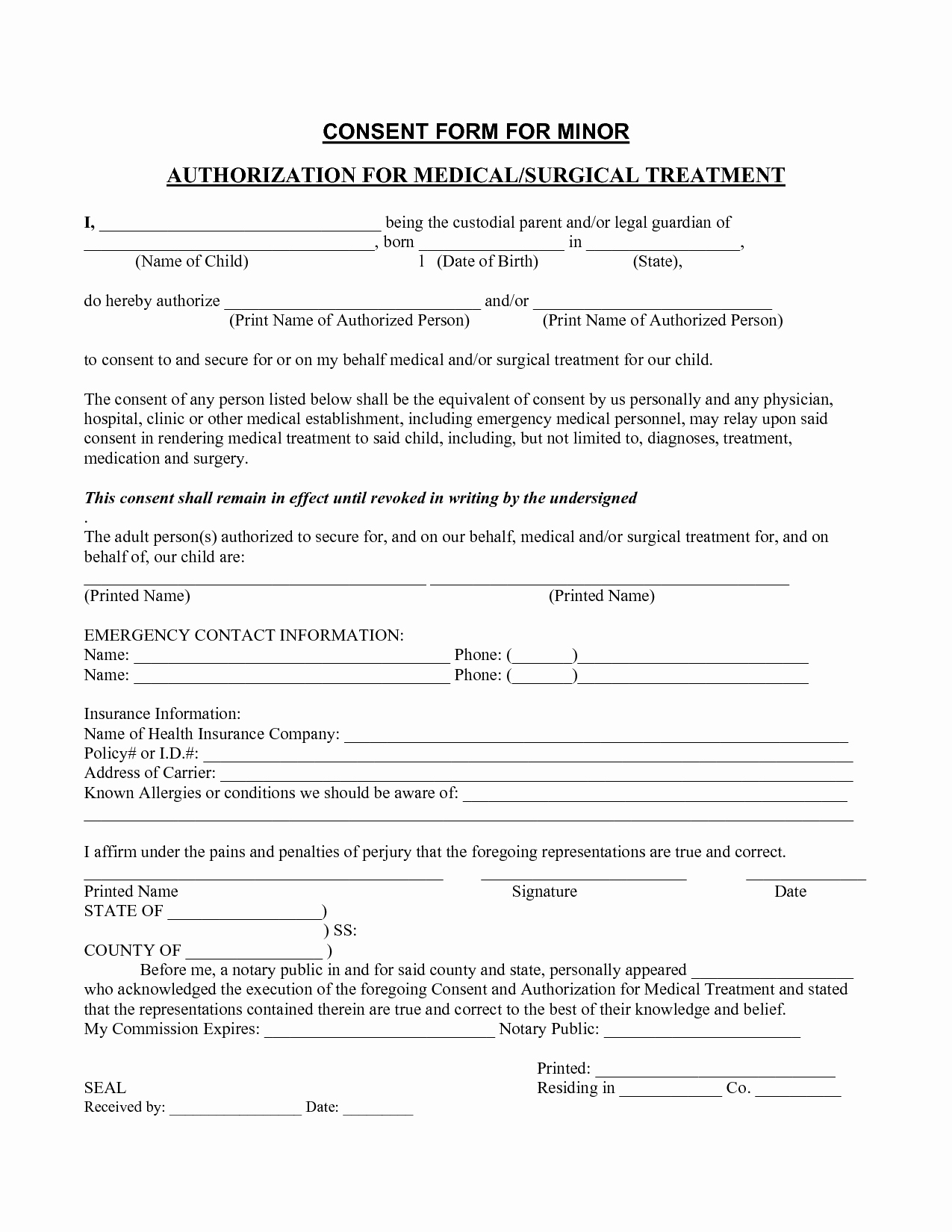 Medical Consent form Template – Templates Free Printable