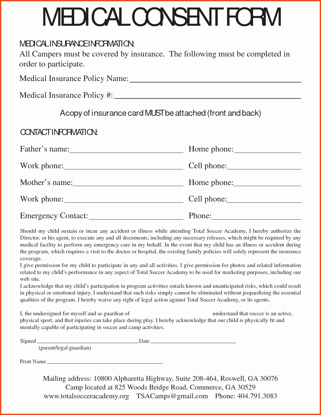 medical consent letter template