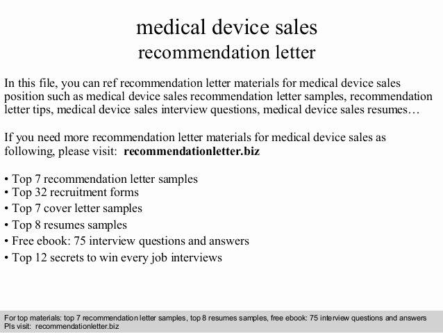 Medical Device Sales Re Mendation Letter