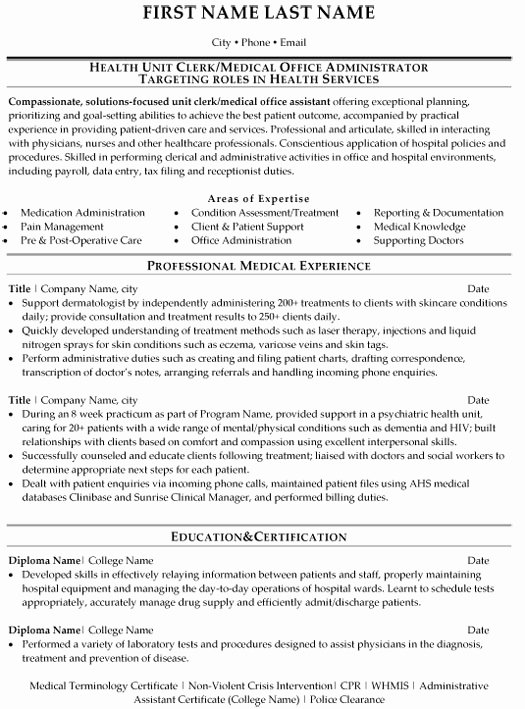 Medical Fice Administration Resume Sample & Template