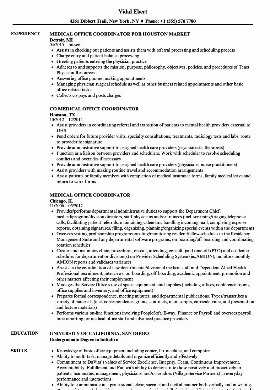 Medical Fice Coordinator Resume Samples