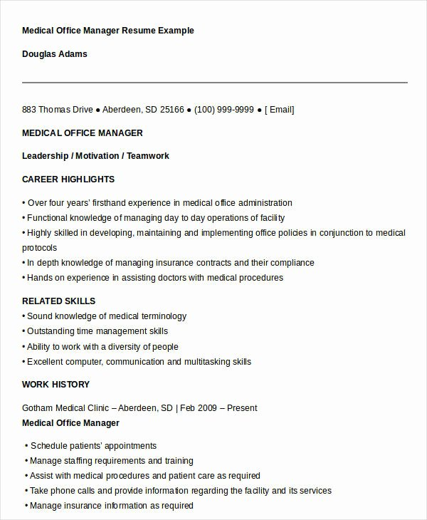 Medical Fice Manager Resume