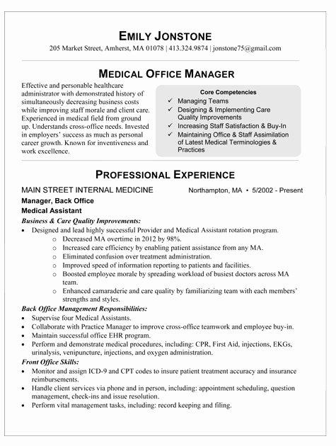 Medical Fice Manager Resume Sample