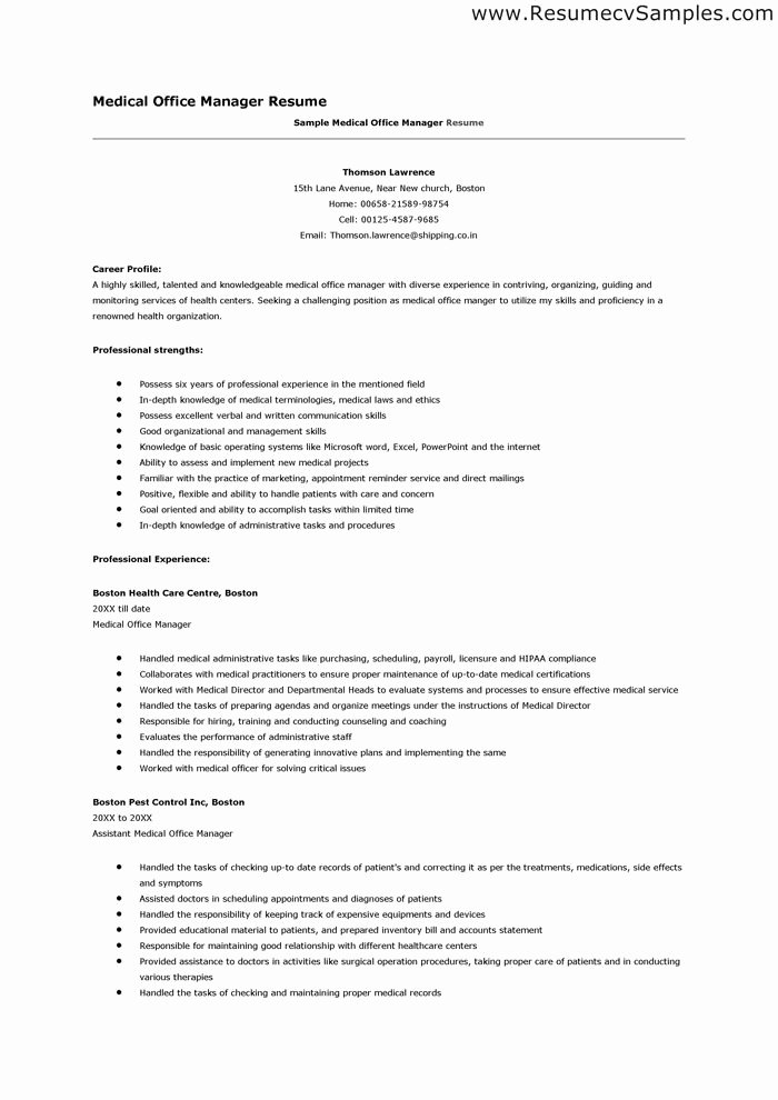 Medical Fice Manager Resume Sample