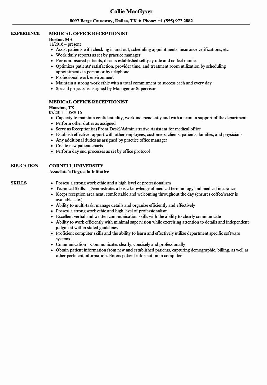 Medical Fice Receptionist Resume Samples