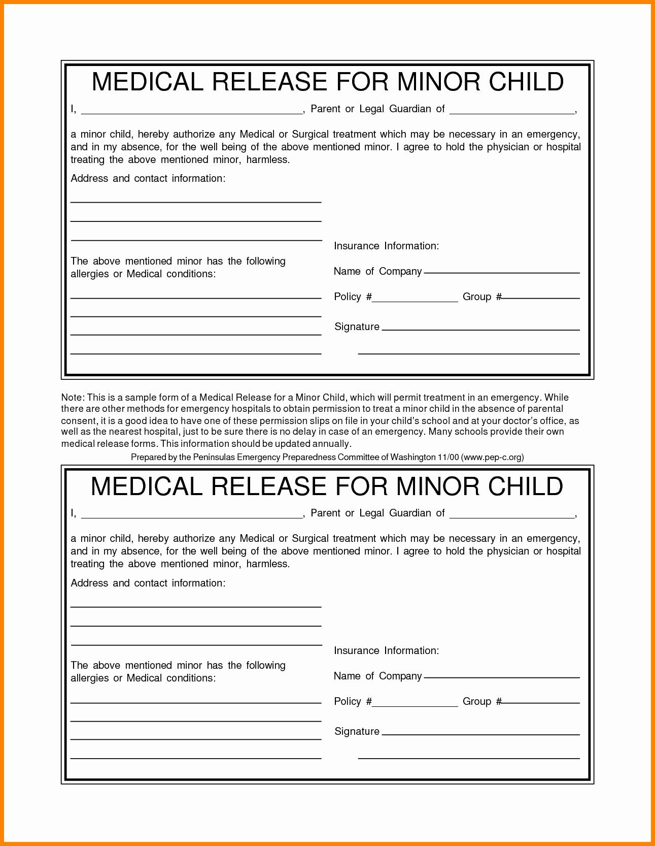 Medical form for Child – Medical form Templates