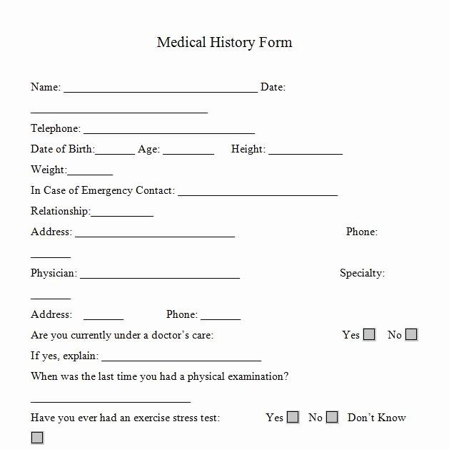 Medical History form Printable – Medical form Templates