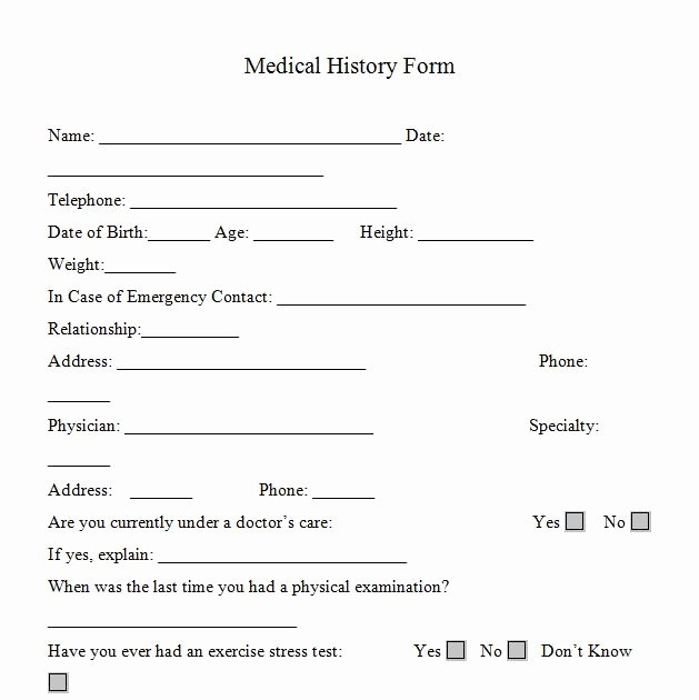Medical History form Printable – Medical form Templates