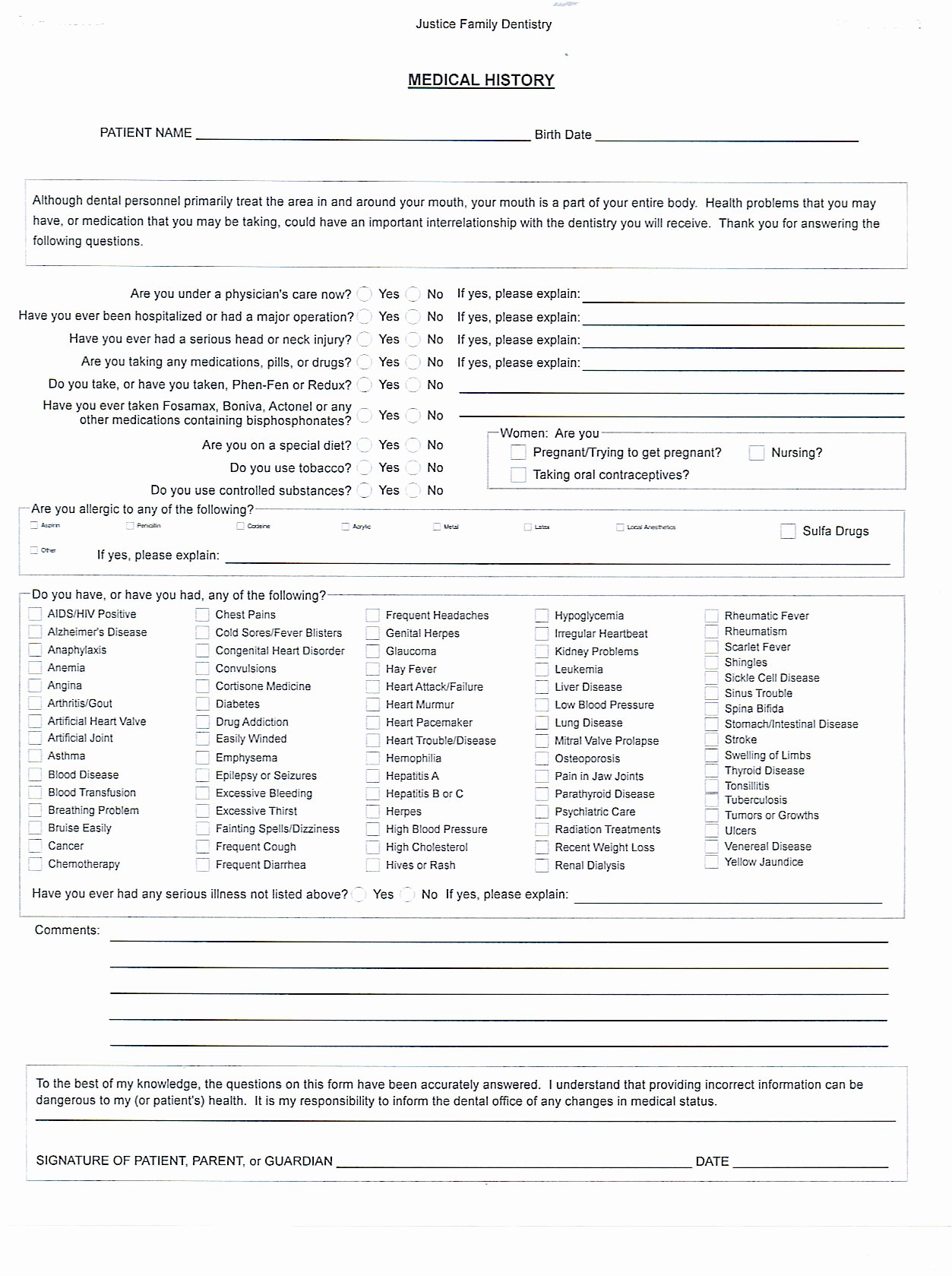 Medical History form Template – Medical form Templates