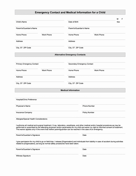 Medical Information form – Medical form Templates
