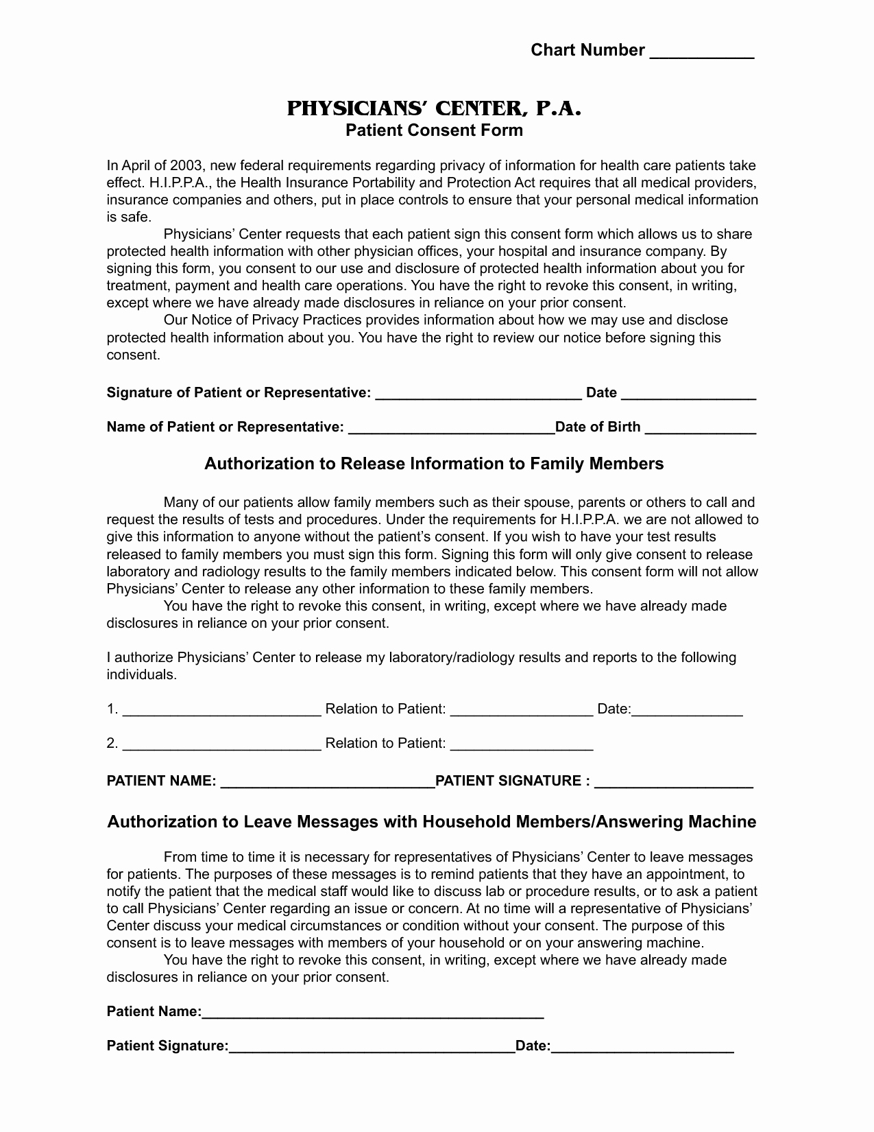 Medical Informed Consent form