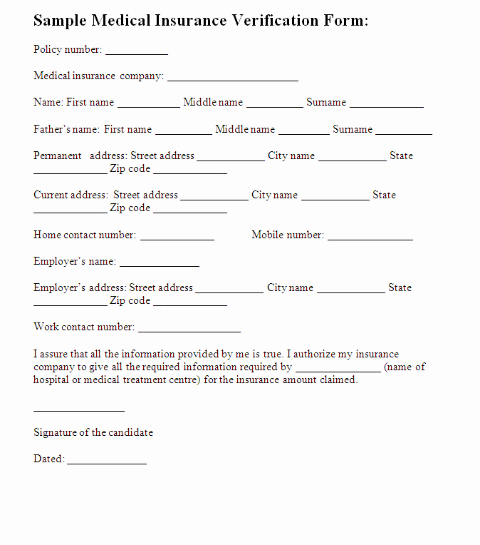 Medical Insurance Verification form Template – Templates