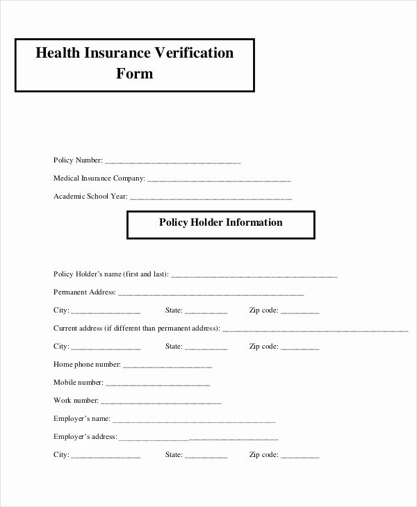 Medical Insurance Verification form the Modern Rules