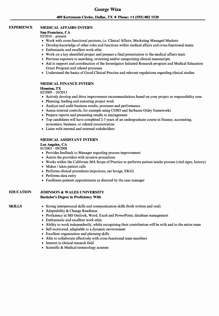 Medical Intern Resume Samples