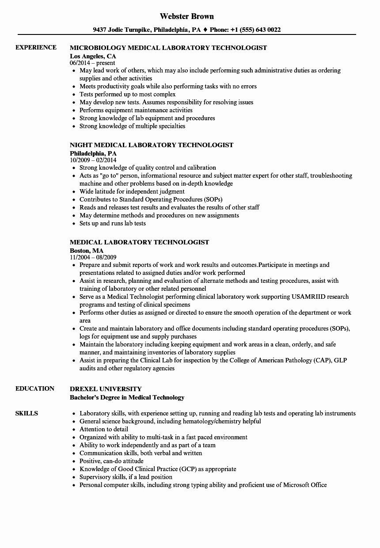 Medical Lab Technician Resume format Talktomartyb