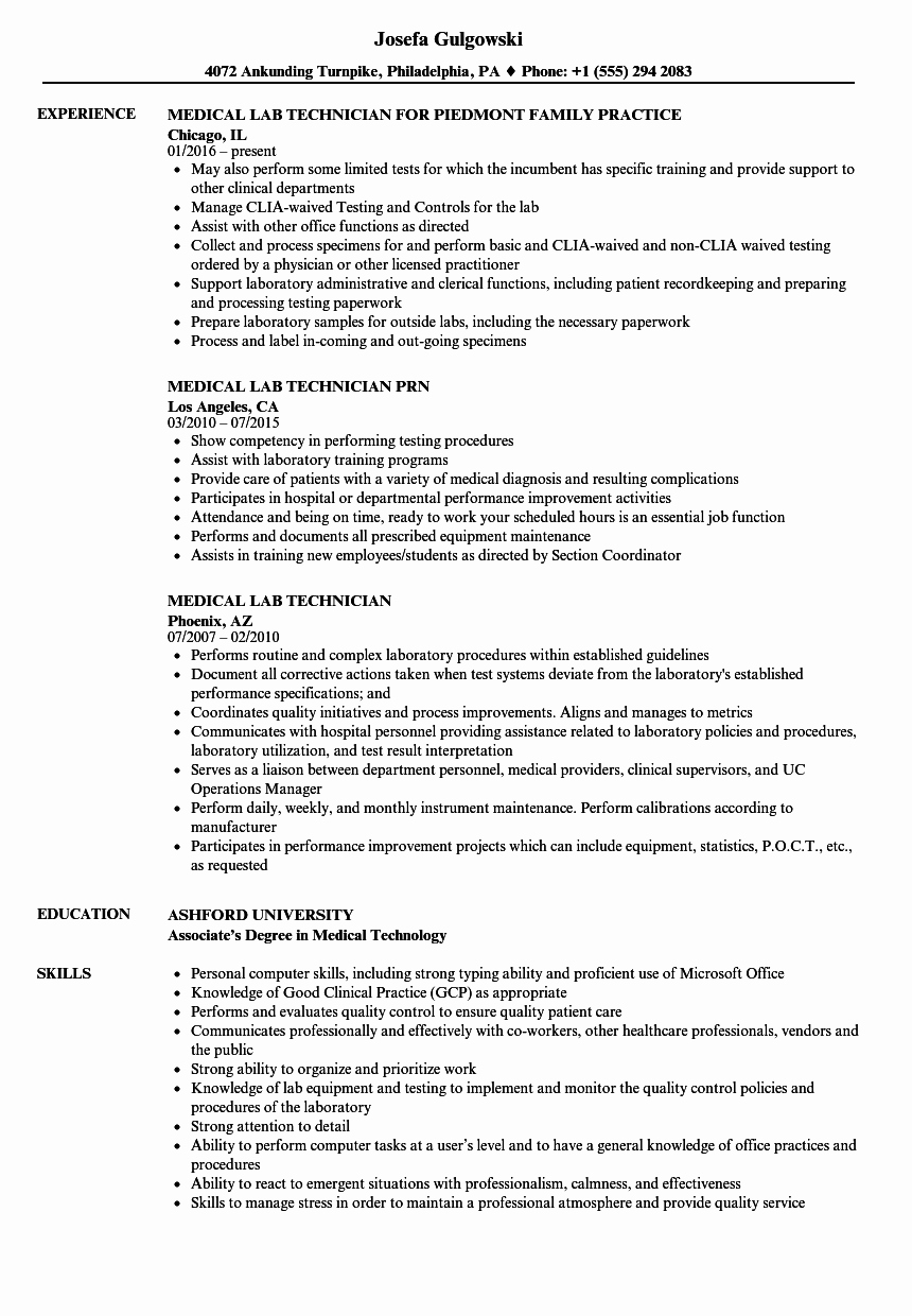 Medical Lab Technician Resume Samples