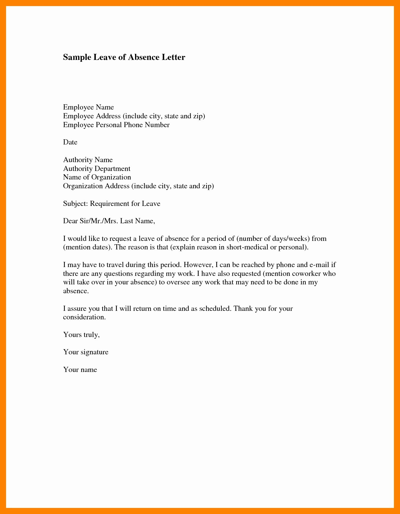Medical Leave Absence Letter Template Examples