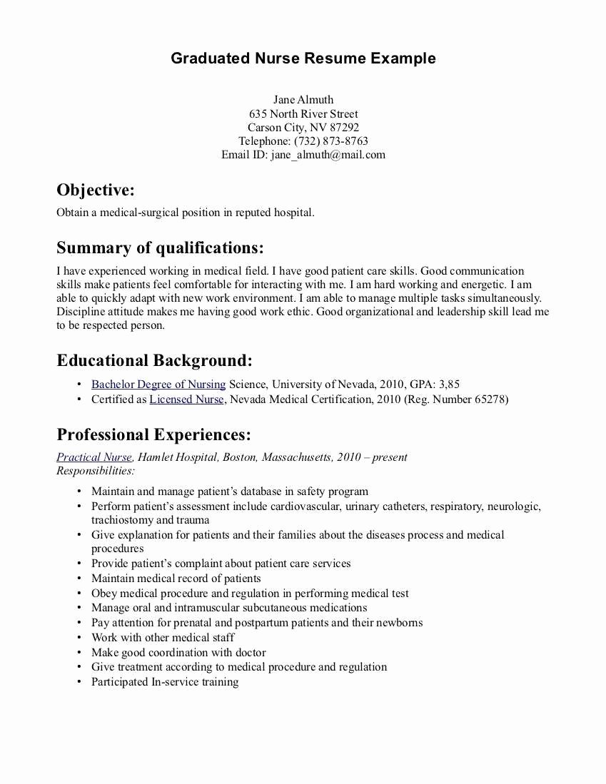 Medical New Graduate Nurse Resume Sample Hd Wallpaper