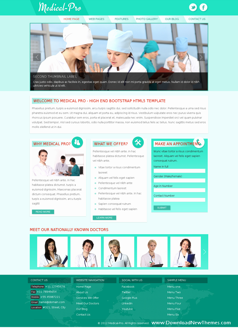 Medical Pro Responsive Bootstrap Template Download New