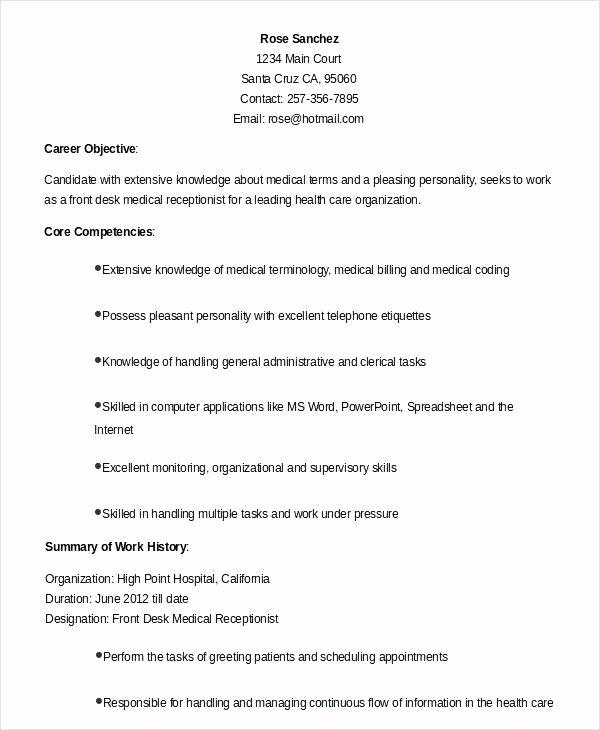 Medical Receptionist Resume Objective Resume Ideas