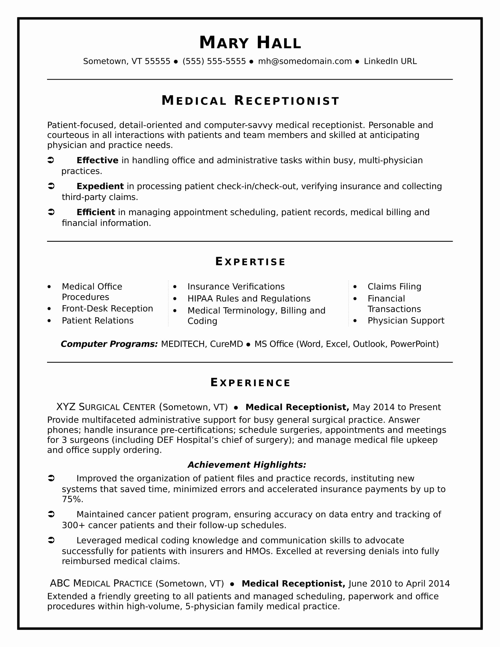 Medical Receptionist Resume Sample