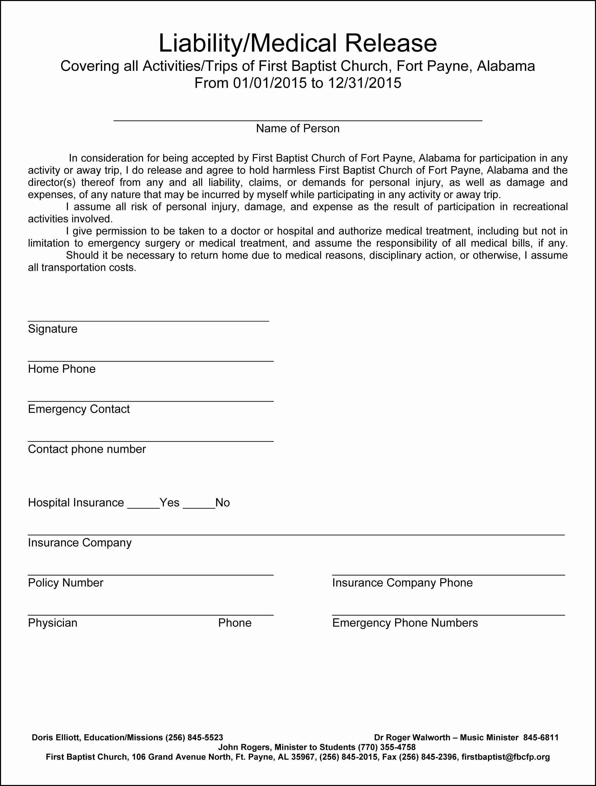Medical Release form for Adults – Templates Free Printable