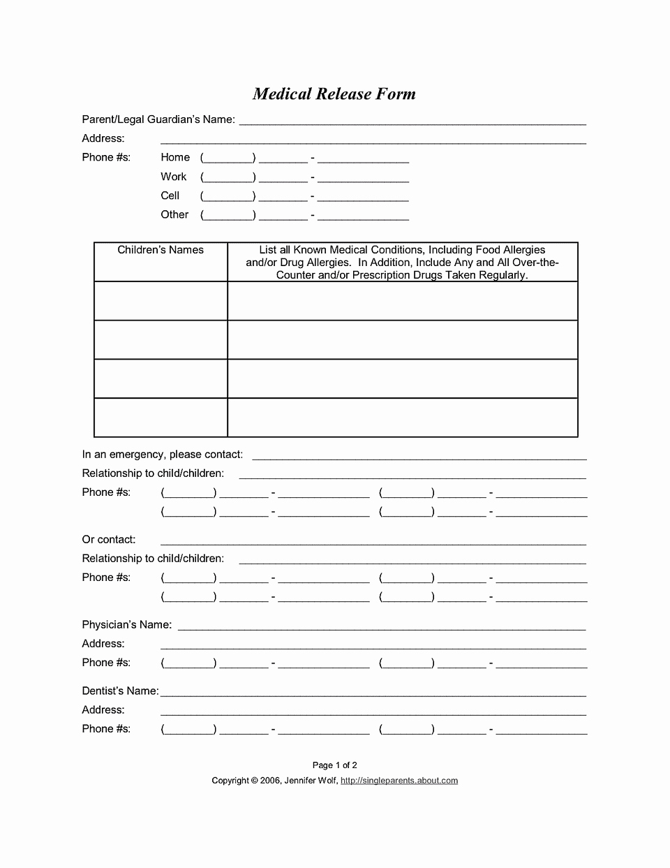 Medical Release form for Consent to Treat Your Kids