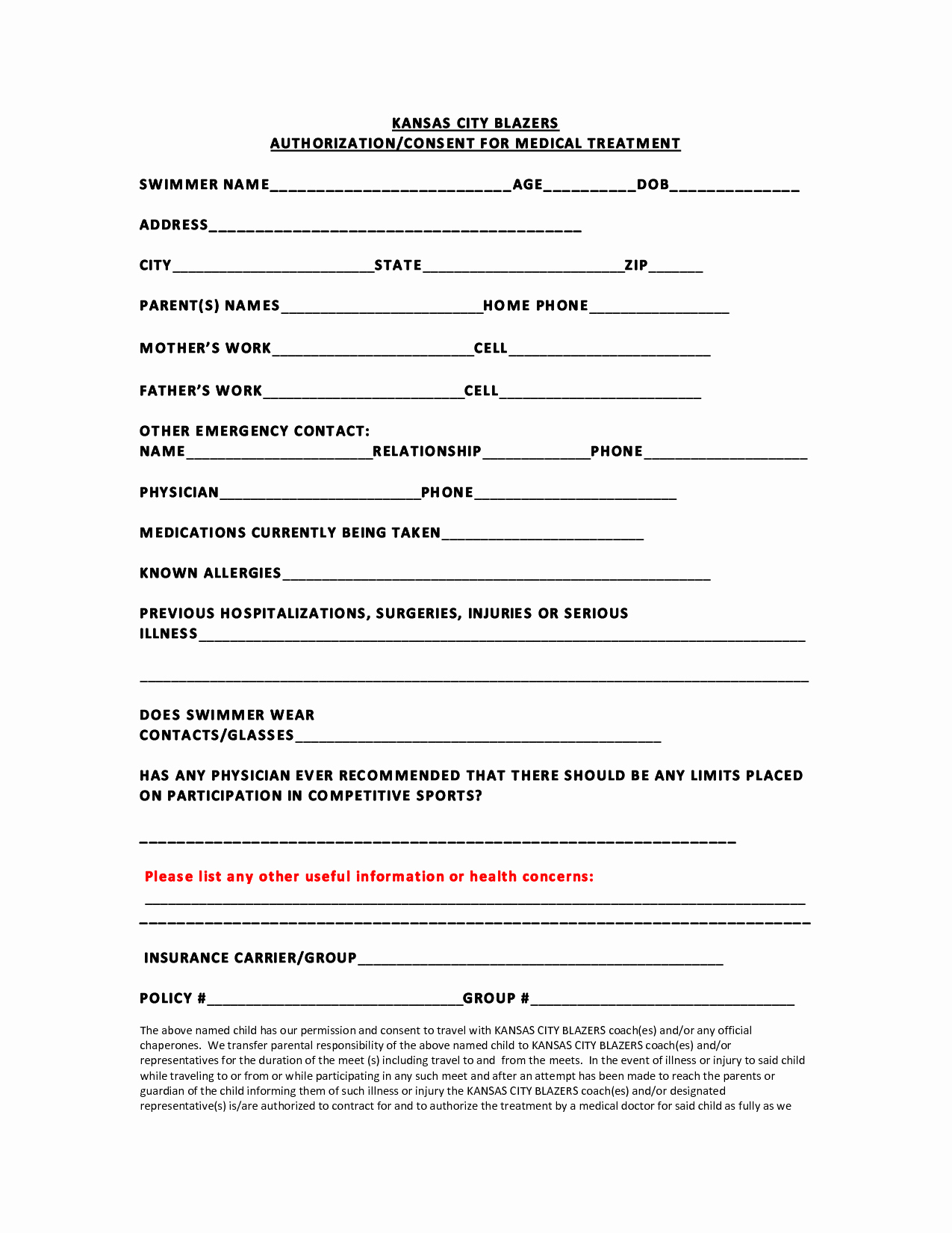 Medical Release Information form Template