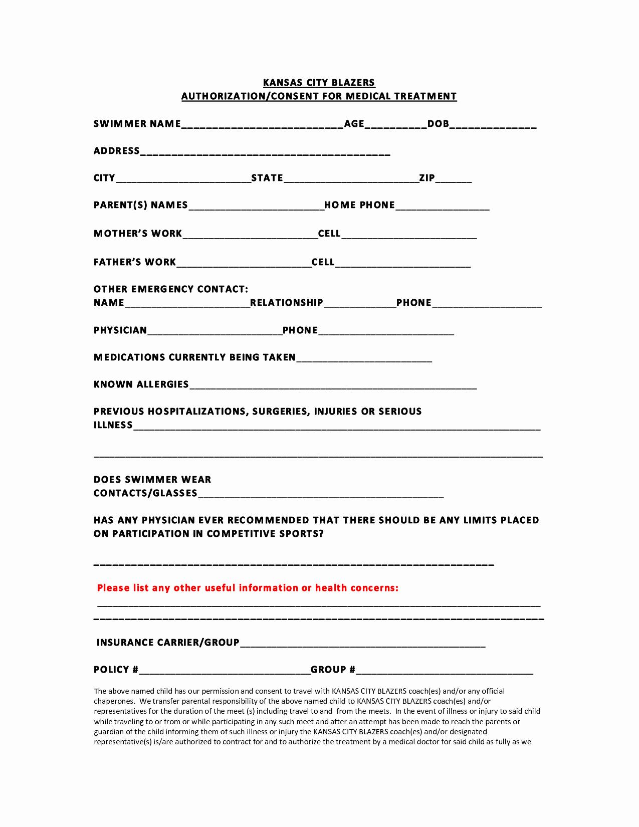 Medical Release Information form Template