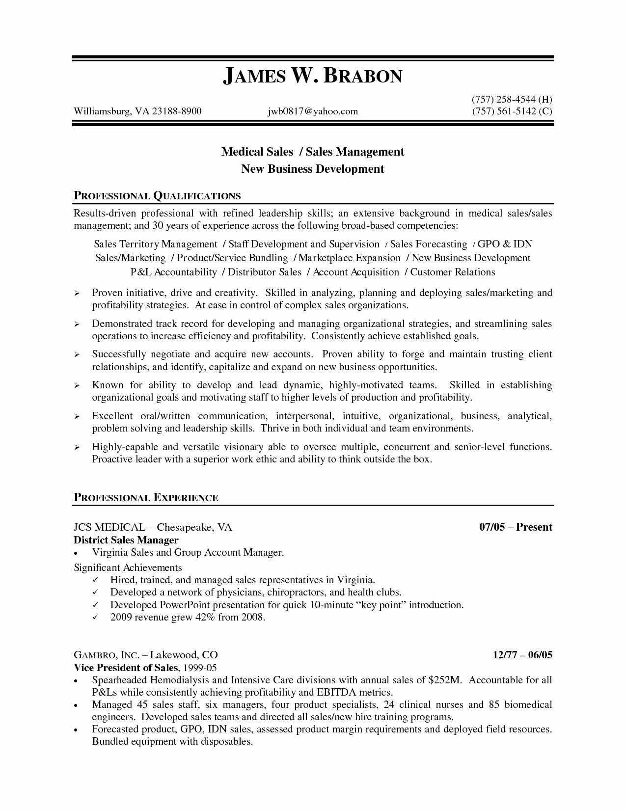 Medical Sales Manager Resume Sample