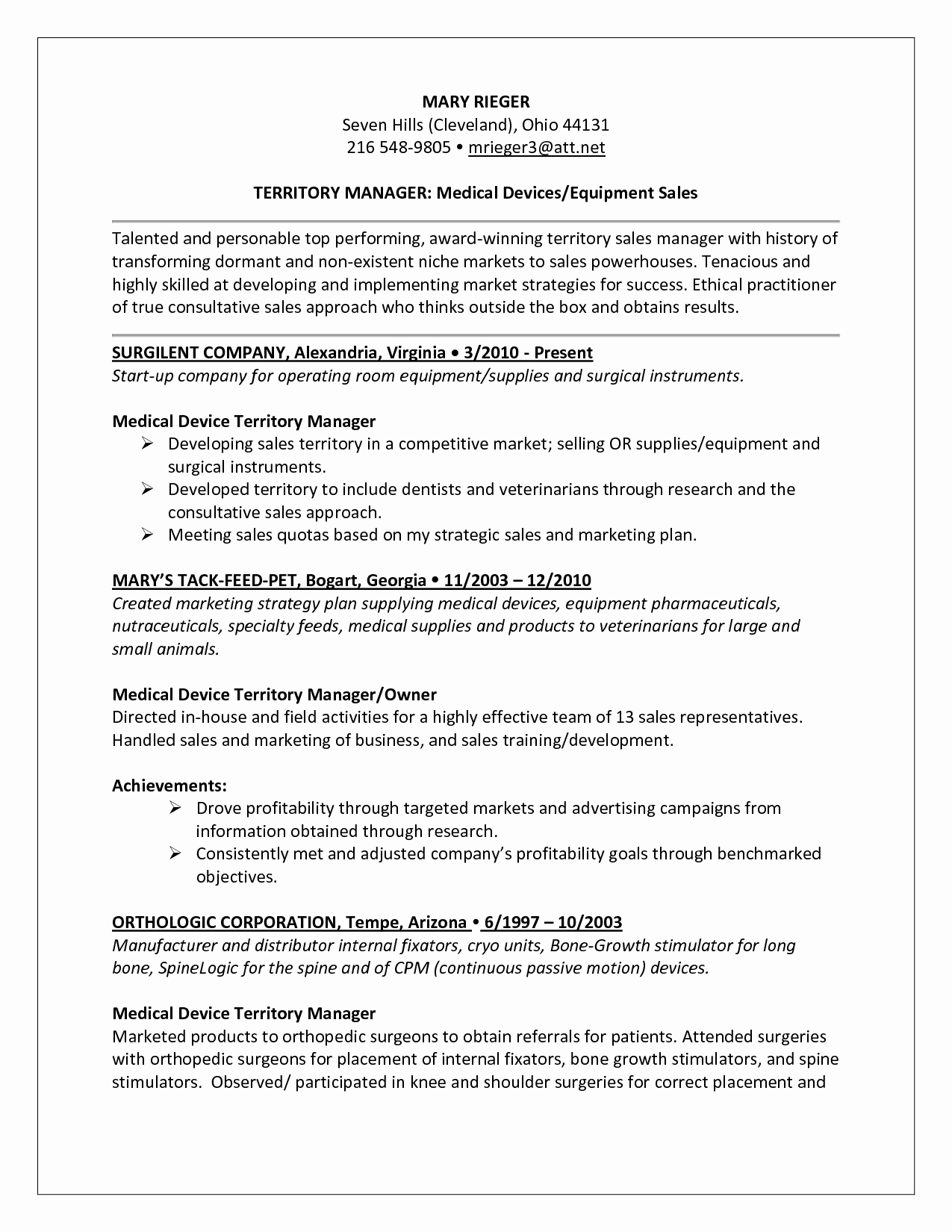 Medical Device Sales Cover Letter | Latter Example Template