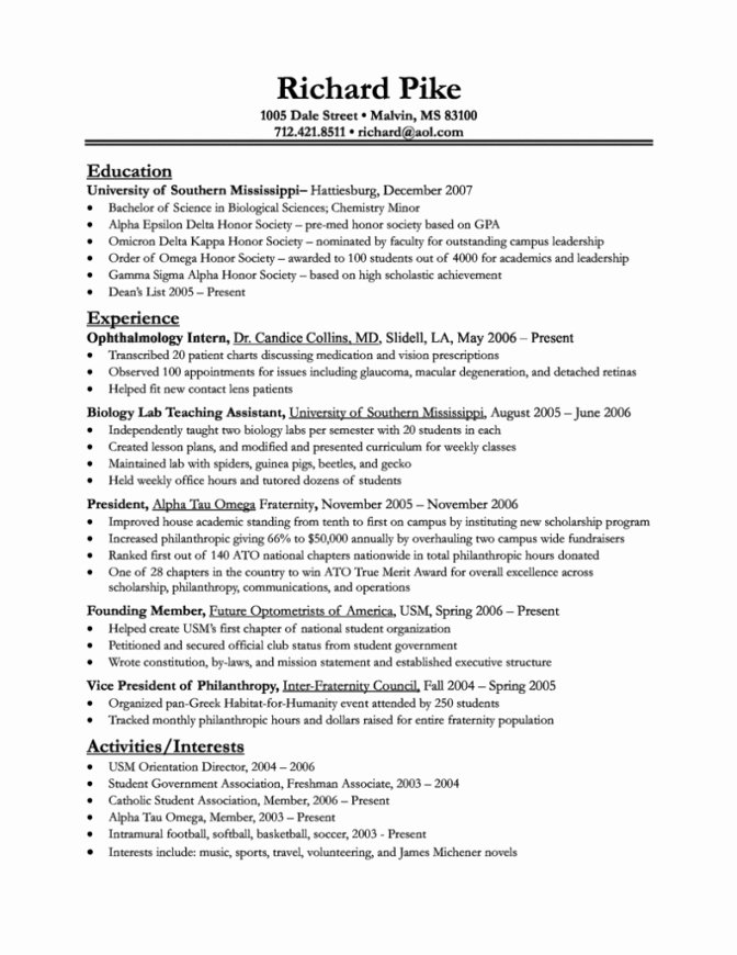Medical School Resume Objective Best Resume Collection