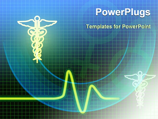 Medical Symbol with Heart Beat Line Powerpoint Template
