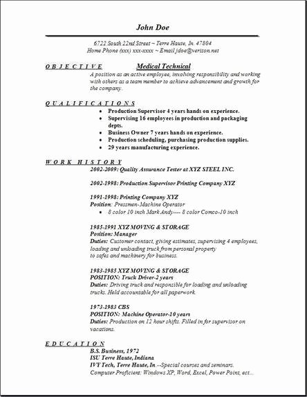Medical Technical Resume Occupational Examples Samples