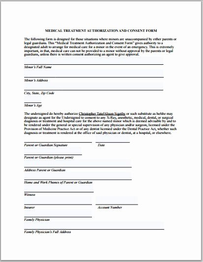 Medical Treatment Release form Free Printable Documents