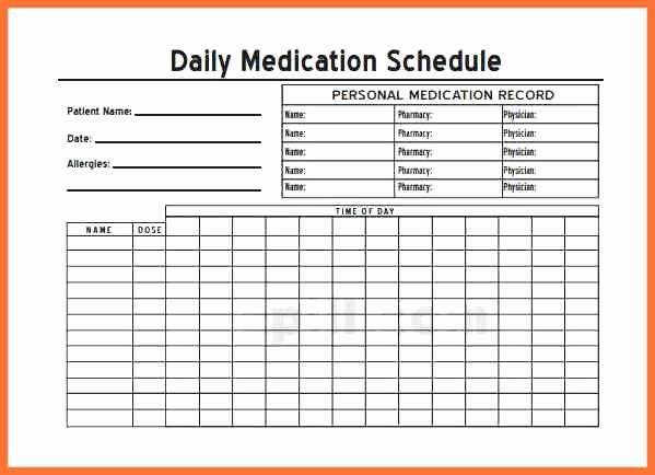 Medication Chart Template Administration Record Excel for