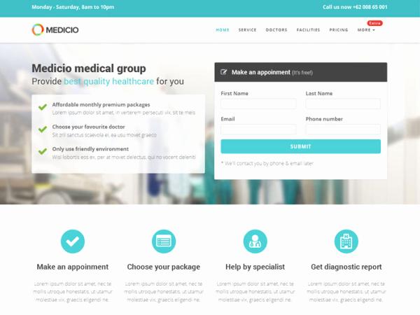 Medicio – Free Bootstrap Landing Page theme