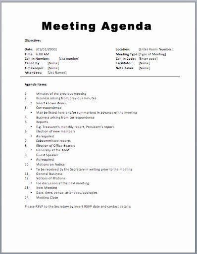 Meeting Agenda Template 1 Agenda Pinterest