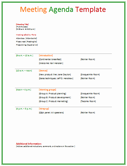 Meeting Agenda Template Agendas
