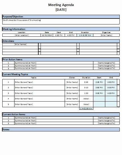 Meeting Agenda Template Lists Templates