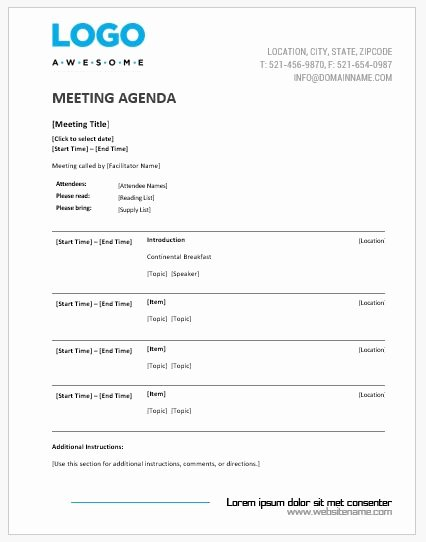 Meeting Agenda Templates Ms Word